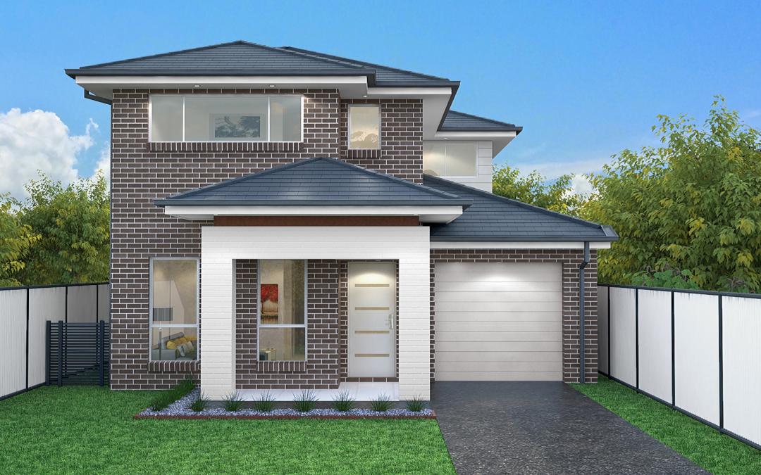 Tall-Oak-single-garage-double-storey-facade-design 2 Storey House Design